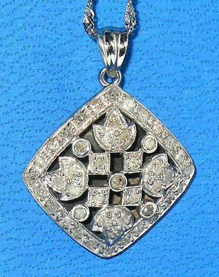 Genuine Diamond Pendant with chain Sterling Silver 1.00ctw