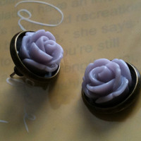 Amethyst antique rose stud earrings by Victorianstudio on Etsy