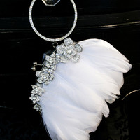 LUSH Floral Rhinestone and White Goose Feather Bangle Purse Clutch