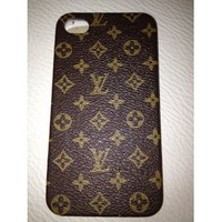 Luxury Designer Lv Pattern Hard Back Cover Gold Frame Case for Iphone 4/4s