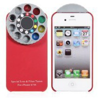 Cool Stuff - Wonderful Kaleidoscope Special Lens and Filter Turret Back Cover for Iphone 4/4s(red)