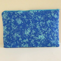 Electric Blue, Turquoise Splatter Zipper Clutch, Tie Dye Pouch, Cosmetic Bag, Statement Clutch,Clutch Bag, Bridesmaid Clutch, Wedding