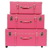 The Sorority College Trunk - Cherry Pink - 3 Piece Set
