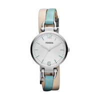 FOSSIL® Watch Styles Leather Watches:Watch Styles Georgia Leather Watch – White and Teal ES3224