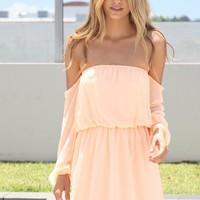 SABO SKIRT  Peach Off Shoulder Dress - $42.00