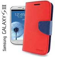 Xfish Online Mercury Fancy Diary / Wallet Leather Case for Samsung Galaxy S3 GT-i9300 (Fits Verizon