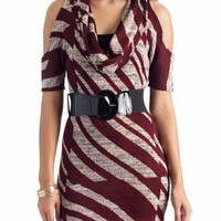 belted cowl neck dress &amp;#36;30.50 in BLKGRY BRGTPE - New Dresses | GoJane.com