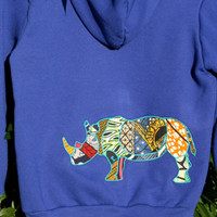 Rhinoceros African Print Appliqué Hooded Sweatshirt - Standard Womens