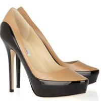 Jimmy Choo Sepia Two-Tone Leather Pumps [20111111907] - $182.00 : Christian Louboutin Shoes Sale, Enjoy 77% Off On Designer Outlet