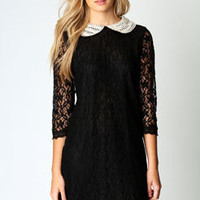 Chloe Pearl Collar Lace Shift Dress