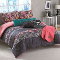 Amazon.com: Roxy Samantha Full/Queen Comforter Sham Body Pillow Throw Bedding Set: Home & Kitchen