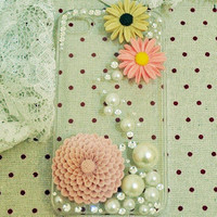 iPhone4S Daisy Flower Pearl Gift Case for Her - GULLEITRUSTMART.COM