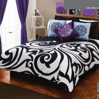 Amazon.com: White Black Gray Comforter Duvet Sheets Bedding Set Full 12 Pcs: Home & Kitchen