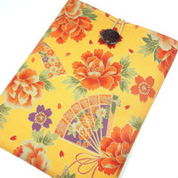 Kimono iPad 3 Case iPad 2 Sleeve iPad Cover - Japanese Padded Tablet case -  Cotton fabric Sensu Peony Dark Yellow