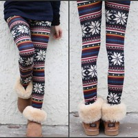 2 Colors Xmax Women Knitted Crystal Pattern Leggings Tights Winter Warm Pants
