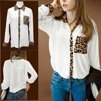 White chiffon blouse with leopard/cheetah print detailing from Basiques Boutique