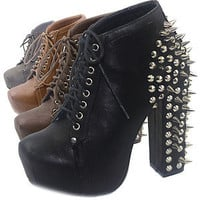 Sexy Super Star Spike Lace Up Ankle Booties Chunky Platform High Heel Stud Shoes