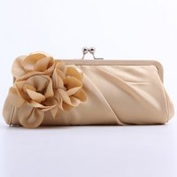 Elegant Satin Shell With Applique Evening Handbags Apricot : Wholesaleclothing4u.com