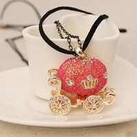 Sweet Red Little Pumpkin Carriage Ladies Necklace : Wholesaleclothing4u.com