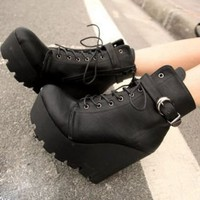 Street Fashion Drawstring Black Ladies Wedges  : Wholesaleclothing4u.com