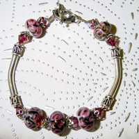 Fuchsia Roses Lampwork, Swarovski Crystals and Sterling Silver Bangle Bracelet