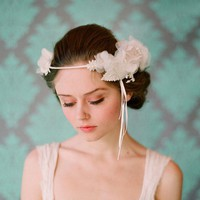 Bridal silk flower halo headband Whimsical bridal halo by myrakim