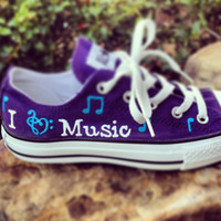 I Love Music Hand-Painted Converse