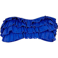 Blue layered frill bandeau bikini top