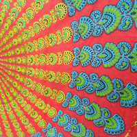 Hippie Tapestry Fabric Colorful Bohemian Mandala Pattern - Red