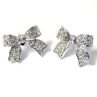 I'm A Cute Little Princess Ribbon Pave' Earrings (Clear Crystals)