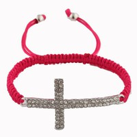 Fuchsia Lace Style Iced Out Cross Bracelet with Beaded Disco Balls Macrame Shamballah
