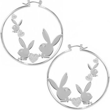 Playboy Hoop Earrings Triple Bunny Logo with Crystal Hearts Authentic Licensed Jewelry CPBE2551