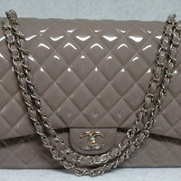 Chanel 2011A Taupe Patent Leather Maxi Flap Bag - Sold Out in Stores | Portero Luxury