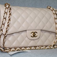 Chanel 2011C Lambskin Leather Jumbo Light Beige Bag | Portero Luxury