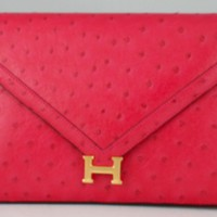 Herm?s Rare Vintage Electric Pink Ostrich Envelope Clutch | Portero Luxury