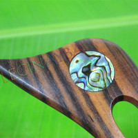 wooden paua abalone hair comb by Leginayba on Etsy