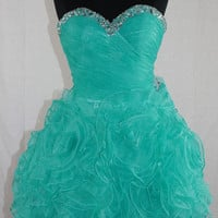 A-line Sweetheart Sleeveless Short/Mini Satin Organza Prom Dress With Beading Free Shipping