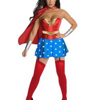Rubie's Costume Co Womens Secret Wishes DC Comics Wonder Woman Corset Costume, Red/White/Blue, Medi