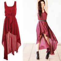 Asymmetrical Wine Dress