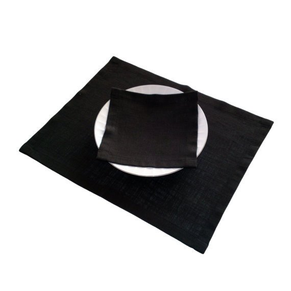 Black Natural Linen Placemats, Set of 4 Wedding Placemats, Holiday ...