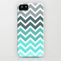 Tiffany Fade Chevron Pattern iPhone Case by Rex Lambo | Society6