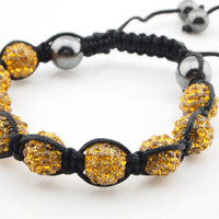 Wholesale Golden Rhinestone Clay 10mm Ball Shamballa Bracelet