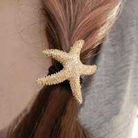 Wholesale Cute Golden Starfish Elastic Hair Band