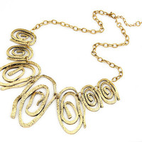 Vintage Hammered Spiral Statement Bib Necklace wholesale