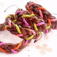 Wholesale Pink and Yellow Leather Braided Bangle Bracelet