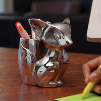 GAMAGO Silver Fox Ceramic Desk Organizer