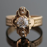 Antique Rose Gold and Diamond Ring with Seed Pearls