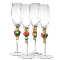 One Kings Lane - Holiday Entertaining - Artland S/4 Splendor Flute Glasses