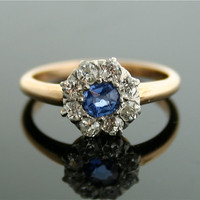 Antique Sapphire Ring - Sapphire Ring with Diamonds