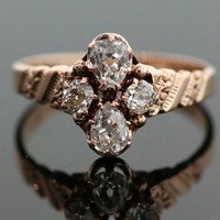 Antique Four Diamond Engagement Ring- 14K Rose Gold and Diamonds